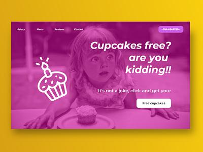 Landing cake ux  ui design landing page dayliui sketch lunacy cupcakes cupcake cake
