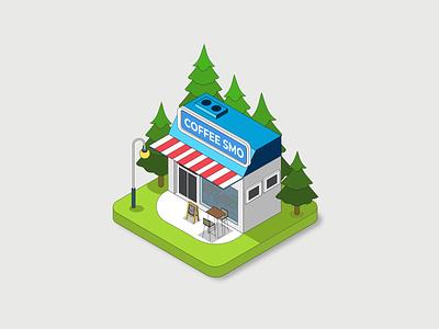 "coffee shop ""smo"" illustration isometric design shop coffee honduras inkscape vector illustration graphic design"