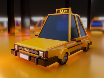 Low poly Taxi - front 3dmodeling blender3d gameart