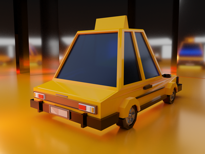Low poly Taxi - back lowpoly3d 3dart game art