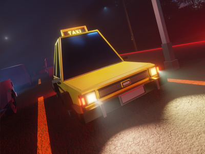 Taxi illustration game blender3d 3dmodelling gameart low poly