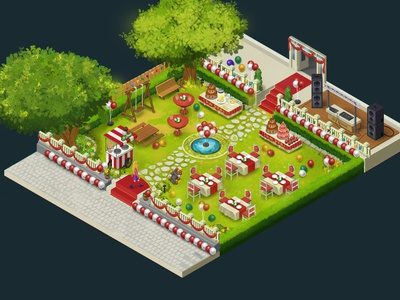 Emily's Party - isometric scene design