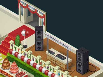 Emily's Party - isometric scene design  - Detail1