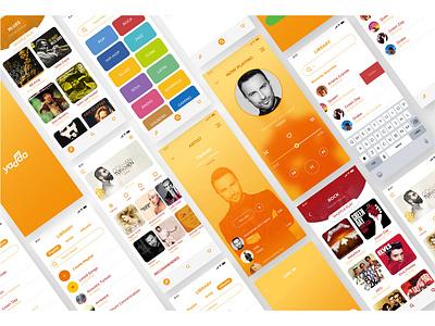 Yadda Music App singer album red yellow orange music player sketchapp music minimal uxdesign concept application adobexd adobe uix ux mobile ui mobile app music app