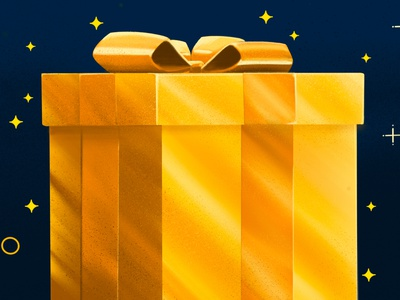 Upgrade your recurring donors blogger procreateapp procreate illustration nonprofit donation donors upgrade gold shiny gift box gift