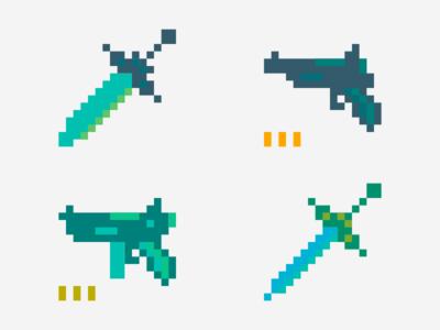 Swords & Guns inkscape pixelart pixel retro 16bit gun sword