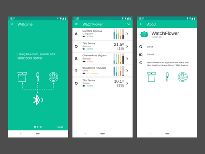 WatchFlower smartphone mockup android app app concept xiaomi ui app design android appicons icons inkscape