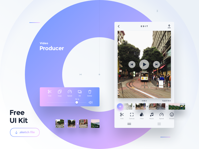 Freebie — Video Producer App — Sketch design ux vector type flat typography ui icon mobile free freebie app