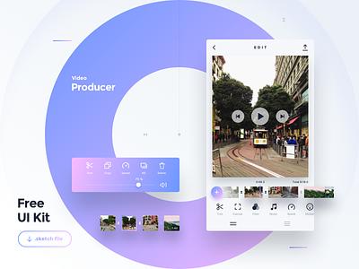 Freebie — Video Producer App — Sketch design ux vector type flat typography ui icon mobile free freebie app