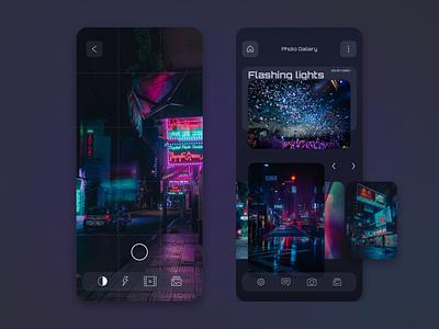 Photo Gallery App web design editor neon image editing photo gallery design dark ui dark app application app mobile app clean cle interface ux ui
