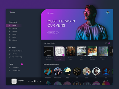 Heartbeat - Music Player App music app player ui spotify equalizer song playlist apple music itunes player webdesign website desktop clean application app interface design ux ui