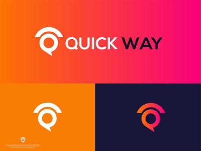 QUICK WAY logo design professional unique design minimalist logo logo iconic logo graphic design creative logo company logo business logo