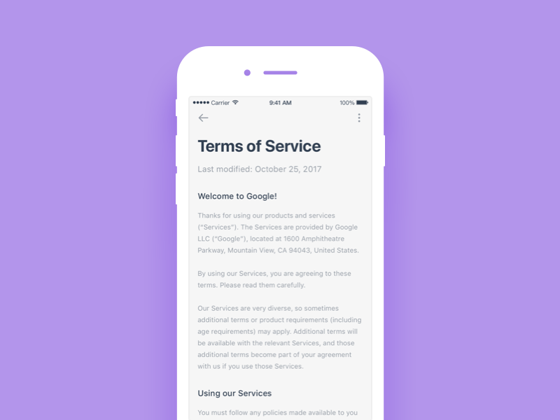 Daily UI 67 Term of service article terms of service ui mobile dailyui