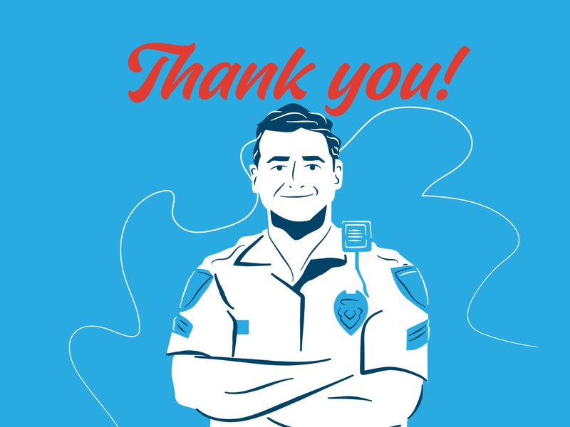 Thank You Police Officers illustration thank you thankyou covid19 coronavirus cop police officer police