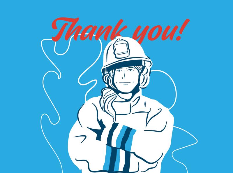 Thank You Firefighters illustration thank you corona virus covid19 corona firefighter