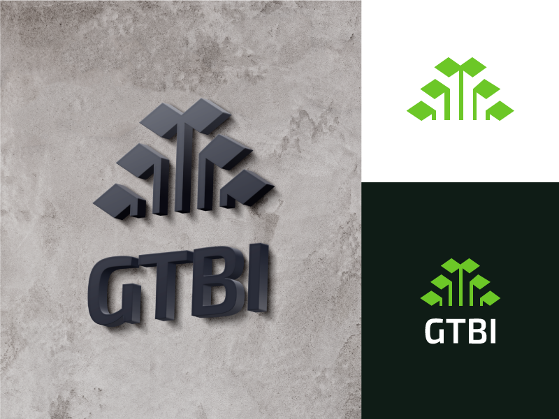GTBI Logo growth plant corporate green technology tech identity branding design letter mark simple monogram logo