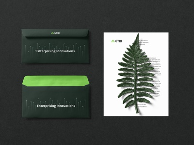 GTBI Envelope stationery collaterals business incubator green ann studio growth logo green branding brand and identity