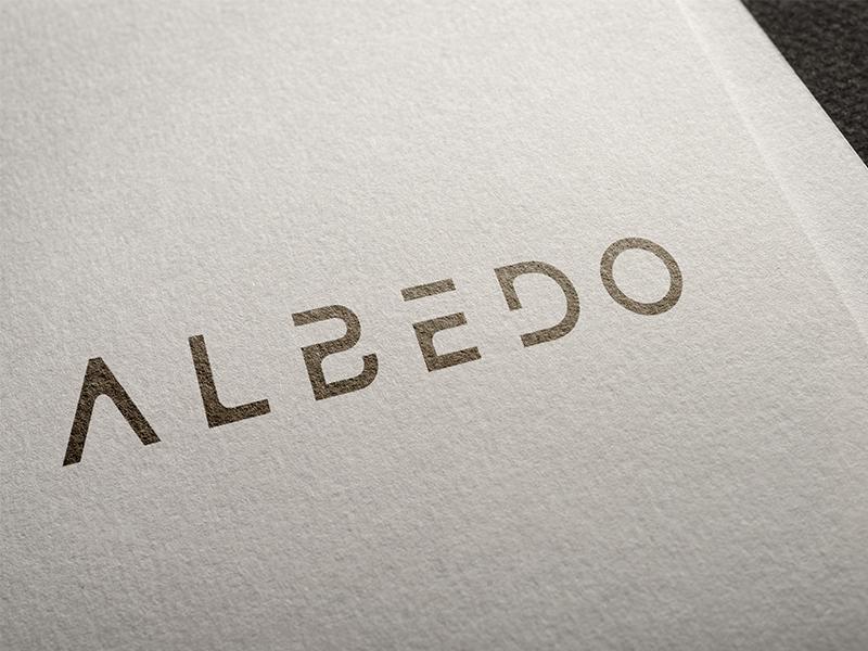 Albedo card game sci-fi sans serif wordmark typography logotype logo lettering albedo identity branding