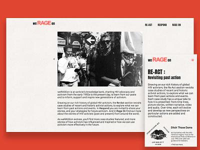 weRAGEon webflow web ux mobile archive 90s activism werageon ui home landing page