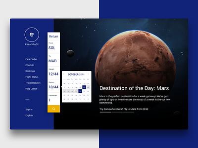 2044 – Ryanspace ryanair calendar menu navigation web homepage hero slider landing page space ux ui branding
