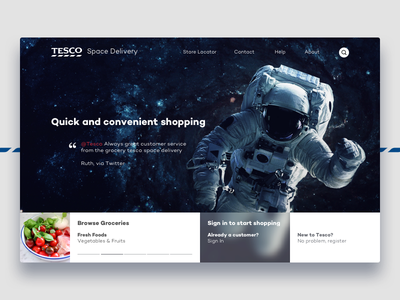 2044 – Space Delivery space delivery web ux ui tesco slider landing page homepage branding