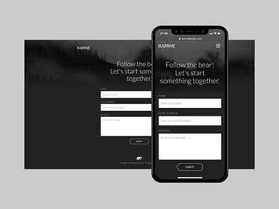 Bjorne – Coming Soon landing page web wip contact mobile bear black webflow clean ui branding