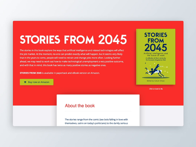 Stories from 2045 future artificial intelligence landing page 2045 book interaction web