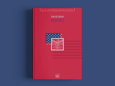 Postman usa deconstruction american flag american book cover sci-fi flat illustration david brin postman vector ithaki