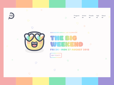 🏳️‍🌈 DailyUI #003 - Manchester Pride Landing Page  web simple ui pride minimalistic manchester lgbt landing page england dailyui clean big weekend