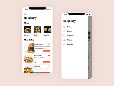 Burgernay app ios food foodapp ux bookingapp booking ios iosapp mobiledesign mobile app deliveryapp