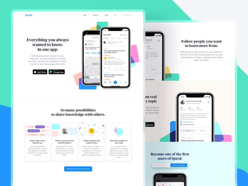 Landing Page Exploration typography branding navigation web design webdesign ux ui layout interface creative clean questions iphone illustration shapes color website web landing page
