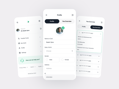 BoltCard - Settings/Profile fintory add photo user settings page design mobile settings ui finance app design product design ux ui minimal clean add accounts edit bank account fee overview edit user information edit user credentials mobile app user app user settings