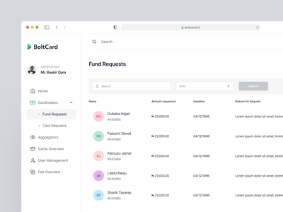 BoltCard - Fund Request payment list view pattern ux navigation user view detail admin clean minimal product design product interface uiux ux dashboard design saas design responsive desktop dashboard fintory finance