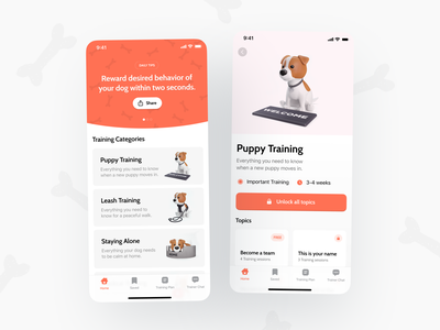 Pupy App – Training Categories android ios app education edtech category user inteface 3d illustration illustration branding mobile app app dog ux ui