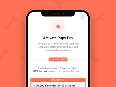 Pupy App - Pupy Pro ui native subscription mobile app subscriptions design app store subscription pro app upsell screen upsell pro subscription app design paid membership one time offer pro subscription modal pupy app dog training app fintory product app design clean subscription design mobile application subscription activate pro