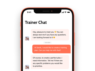 Pupy - Trainer Chat chat ui chatbot automated messages pupy fintory chat trainer dog app trainer puppy app ios app trainer chat app design website illustration ui messenger messaging message inbox chat