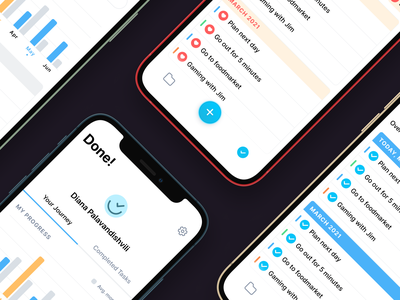✅ Done! - Intelligent Productivity App clean branding list analytics check todo create delete resolve to do list productivity fintory design app ux ui
