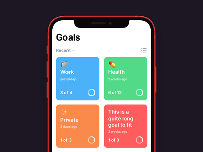 ✅ Done! - Goals fintory productivity create delete resolve card todo list branding create task tasks screen check off done goal app app colors clean