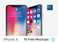 iPhone X – 10 Free PSD Mockups