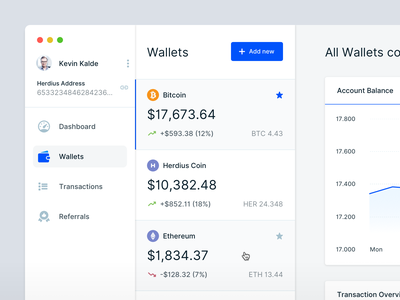 Cryptocurrency App - Wallet Overview financial financial app mac app user experience user interface crypto currency wallets wallet crypto wallet cryptocurrency cryptocoin crypto dashboard app ui ux payment banking finance