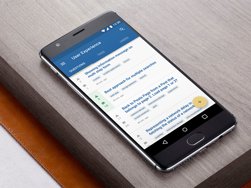 Stack Exchange Android app with Adobe Xd oneplus design material xd adobe ui android mobile
