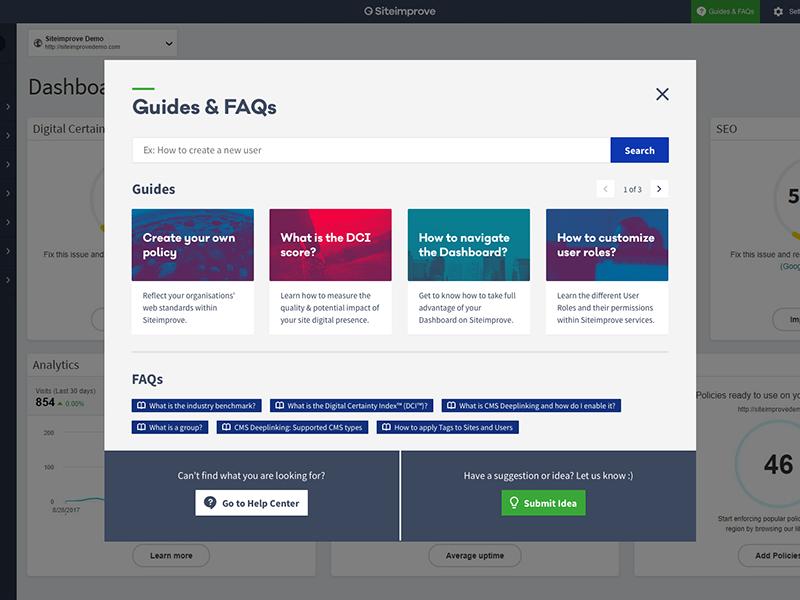 Siteimprove Guides & FAQs guides faq popup window modal