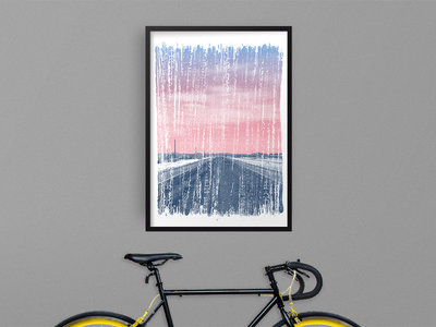 Final Artcrank Print screen printing french paper screen print split fountain handmade bicycles cycling sunrise textures artcrank art bikes