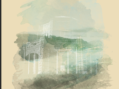 Poster concept : Home texture digital illustration print poster image riso watercolors