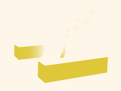 Playing - Letter Z z letter sleeping 3d typography