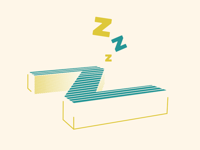 Final Z halftone teal z sleeping typography lettering letter 3d