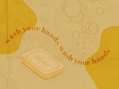 Wash Your Handsies adobe illustrator colour burn typography blob orange yellow branding ui ecommerce paper texture overlay figma flyer graphic design