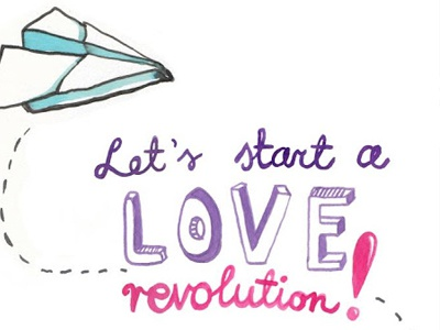 let's start a love revolution. poster.