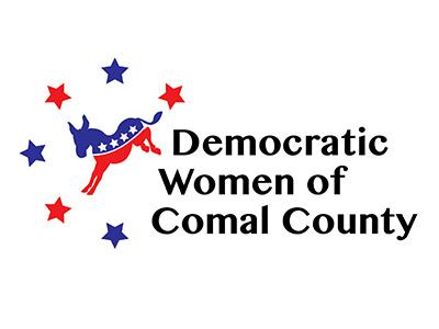 DWCC stars red and blue sans serif politics donkey texas comal county women democrat