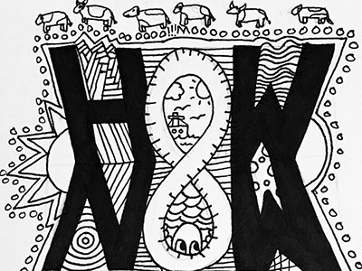 HowNow coo hownowbrowncow moon sun moo cows cow bw black and white hand type illustration
